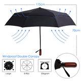 Beefree stormparaplu - paraplu - glasvezel frame - speciale anti windlaag - zwart Ø 115cm_