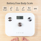 Beepower personenweegschaal | self powered | Geen batterij nodig | Met lichaamsanalyse functie | zwart_