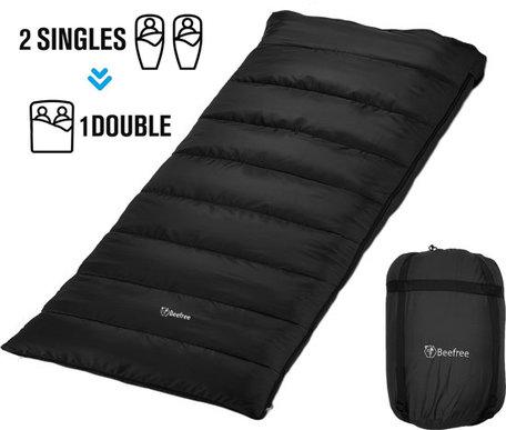 Beefree Slaapzak XL | Grote Katoenen 220 x 90cm slaap zak | Incl. Tochtstrip , opbergvakje aan binnenzijde - trektouw aan bovenrand - Dubbele richting rits - Aanritsbare slaapzak | Zwart