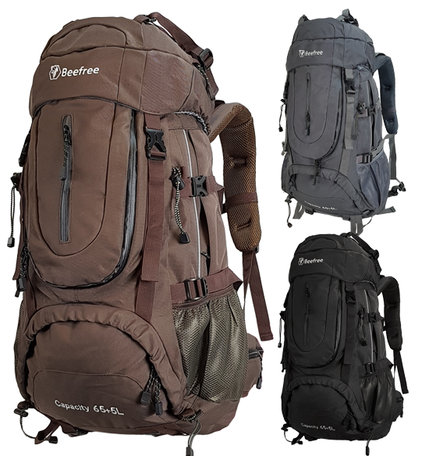 Beefree 70 Liter nylon Backpack | Inclusief regenhoes | Frontlader | Extra stevig | Bruin