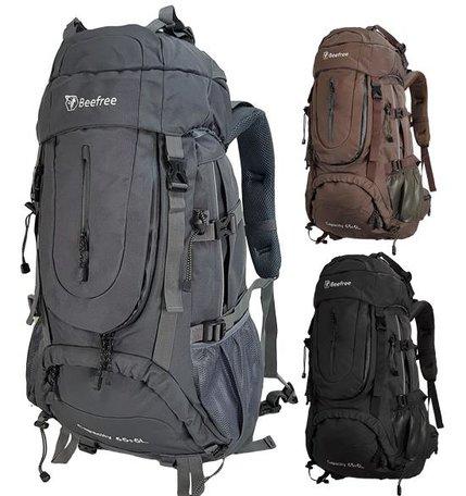 Beefree 70 Liter nylon Backpack | Inclusief regenhoes | Frontlader | Extra stevig | Grijs