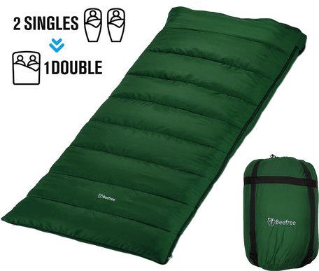 Beefree Slaapzak XL | Grote Katoenen 220 x 90cm slaap zak | Incl. Tochtstrip , opbergvakje aan binnenzijde - trektouw aan bovenrand - Dubbele richting rits - Aanritsbare slaapzak | Groen