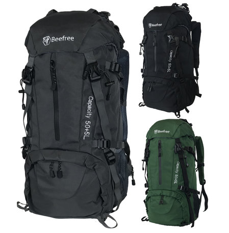 Beefree 55 Liter nylon Backpack | Inclusief regenhoes (updated 2020 model) - Grijs