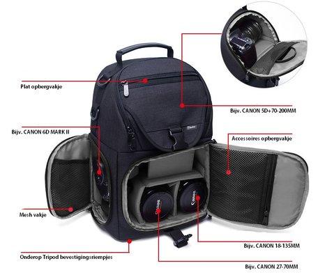 Beefree Universele DSLR Camera Fototas - Zwart met lichtblauw
