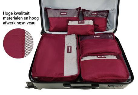 Beefree Koffer organiser 6-delig, formaat handbagage | Travel bag | Reis organizer | Opgeruimde koffer | Kledinghoes | Reistas | Wijnrood