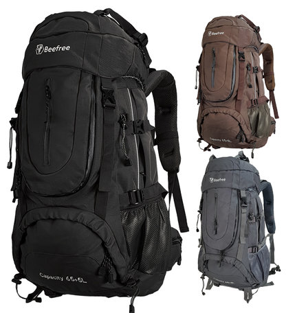 Beefree 70 Liter nylon Backpack | Inclusief regenhoes | Frontlader | Extra stevig | Zwart