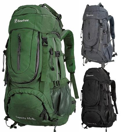 Beefree 70 Liter nylon Backpack | Inclusief regenhoes | Frontlader | Extra stevig | Groen