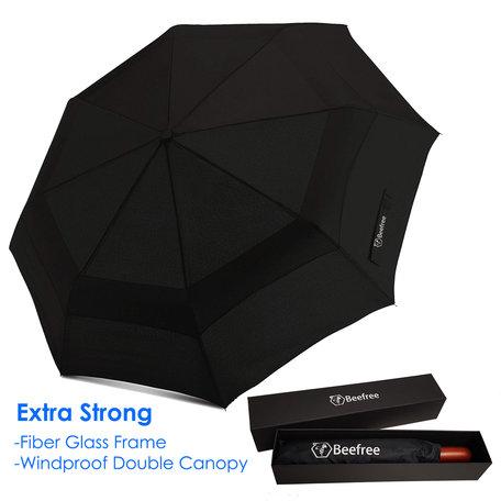 Beefree stormparaplu - paraplu - glasvezel frame - speciale anti windlaag - zwart Ø 115cm
