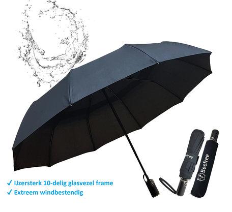 Beefree Automatische Stormparaplu - Paraplu – Automatisch, opvouwbaar & Windproof tot 100km p/u - Ø 107 cm - 10 panelen - Dubbele laag - Zwart