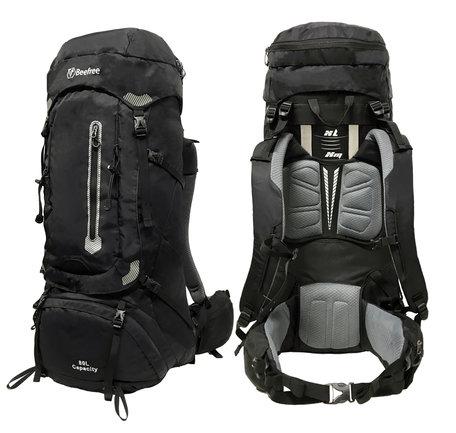 Beefree 80 Liter Backpack Deluxe - Zwart | Inclusief regenhoes | Frontlader