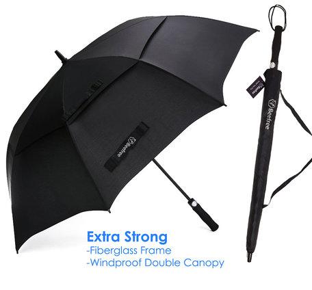 Beefree paraplu XL - 100% glasvezel frame - windproof - zwart Ø 125cm