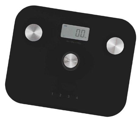 Beepower personenweegschaal | self powered | Geen batterij nodig | Met lichaamsanalyse functie | zwart