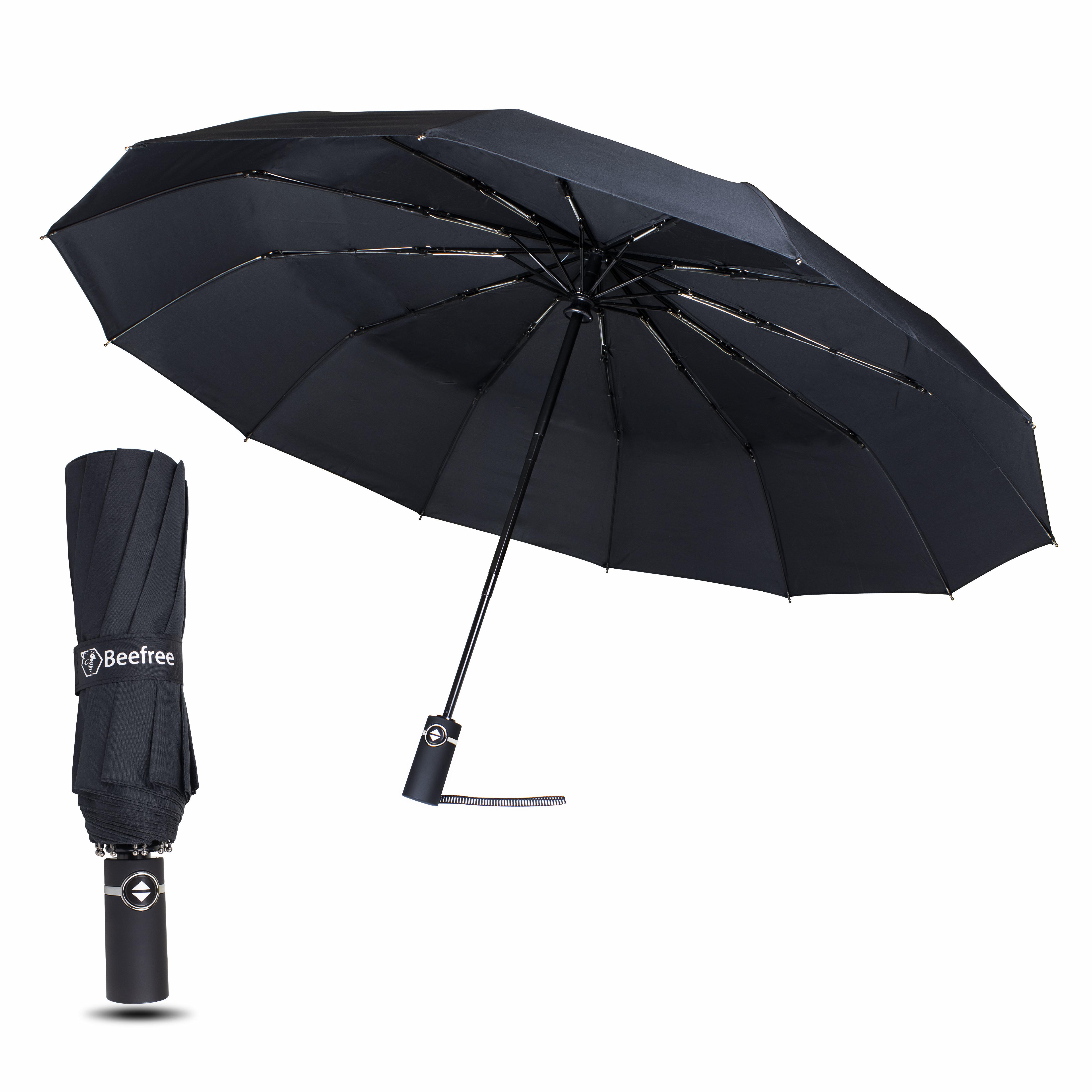 Beefree Stormparaplu Ø 105 cm | 12 Panelen - Zwart