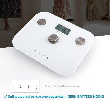 Beepower personenweegschaal | self powered | Geen batterij nodig | Met lichaamsanalyse functie