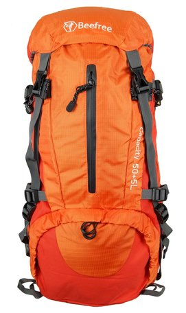 0143d0e1930 Sale Beefree 55 Liter nylon Backpack Oranje   Inclusief regenhoes