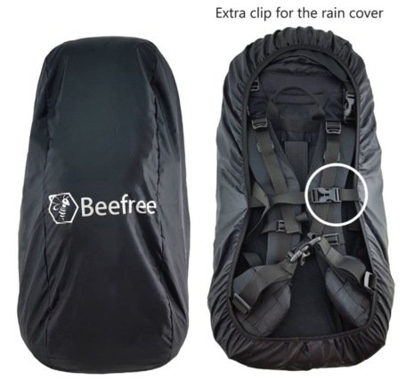Beefree nylon backpack regenhoes 55-90L | Incl. extra clip - zwart