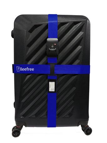 Dubbele Kofferriem Met TSA Cijferslot - Kofferband Code Slot - Bagage Riem Met Kofferslot - 230CM - blauw