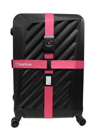 Dubbele Kofferriem Met TSA Cijferslot - Kofferband Code Slot - Bagage Riem Met Kofferslot - 230CM - roze