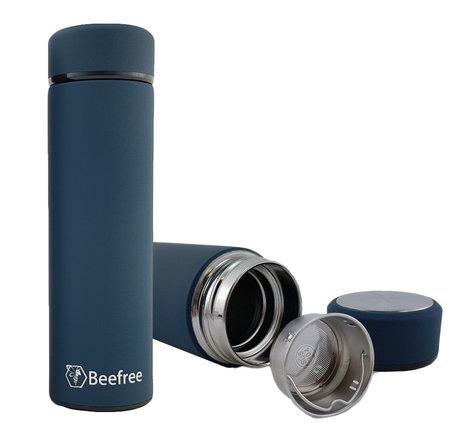 Beefree Dubbelwandige Thermosfles - Thermosbeker - Isoleerfles - Reisbeker - Travel Mug - Koffiebeker - Theebeker - RVS - Met Theefilter - 500 ml - Blauw