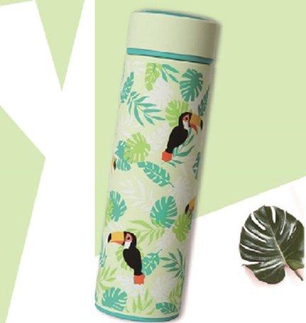 Beefree Dubbelwandige Thermosfles - Thermosbeker - Isoleerfles - Reisbeker - Travel Mug - Koffiebeker - Theebeker - RVS - Met Theefilter - 500 ml - Groen