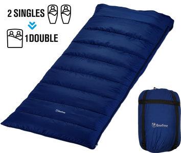 Beefree Slaapzak XL | Grote Katoenen 220 x 90cm slaap zak | Incl. Tochtstrip , opbergvakje aan binnenzijde - trektouw aan bovenrand - Dubbele richting rits - Aanritsbare slaapzak | Blauw