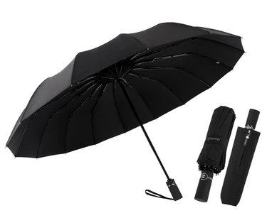 Beefree Automatische MONSTER Stormparaplu met 16 panelen Ø 104 cm - Zwart