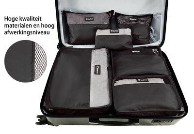 Beefree Koffer organiser 6-delig, formaat handbagage   Travel bag   Reis organizer   Opgeruimde koffer   Kledinghoes   Reistas   Zwart