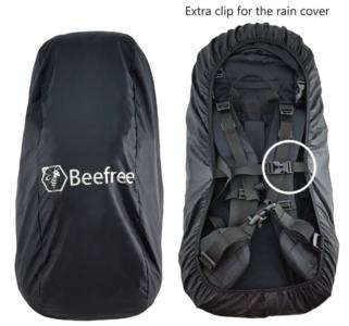 Beefree nylon backpack regenhoes 55-90L   Incl. extra clip - zwart